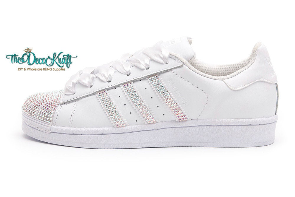 Custom Bling Womens Adidas Originals Superstar White Swarovski Crystal Ab Wedding Sneakers W Satin Shoe Laces