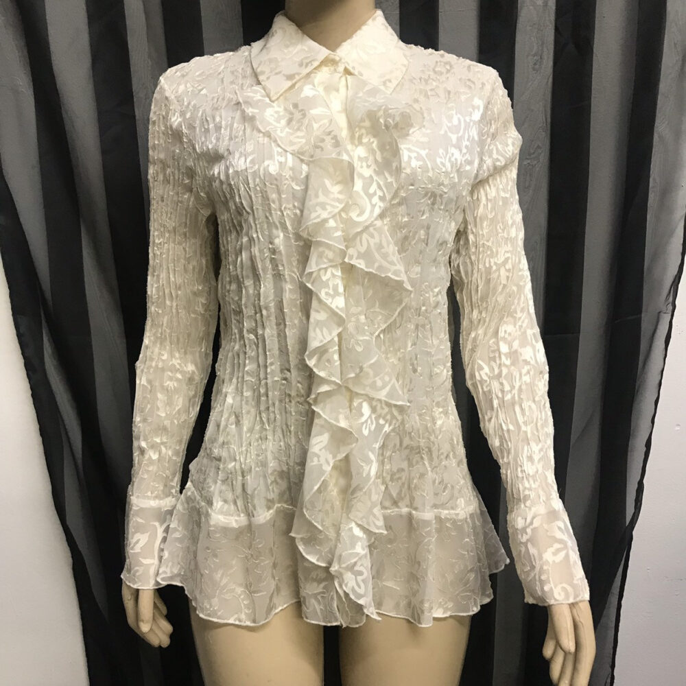 Women's Medium Md Vintage Cold Water Creek Sheer White Floral Formal Fancy Satin Goth Button Up Shirt Top Ruffle Victorian Vampire Prairie