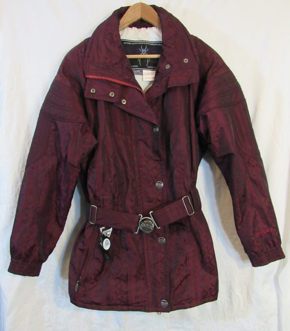 1990S Spyder Women's Two-Piece Belted Burgundy Geometric Thinsulate Ski Snow Suit Bust 42""