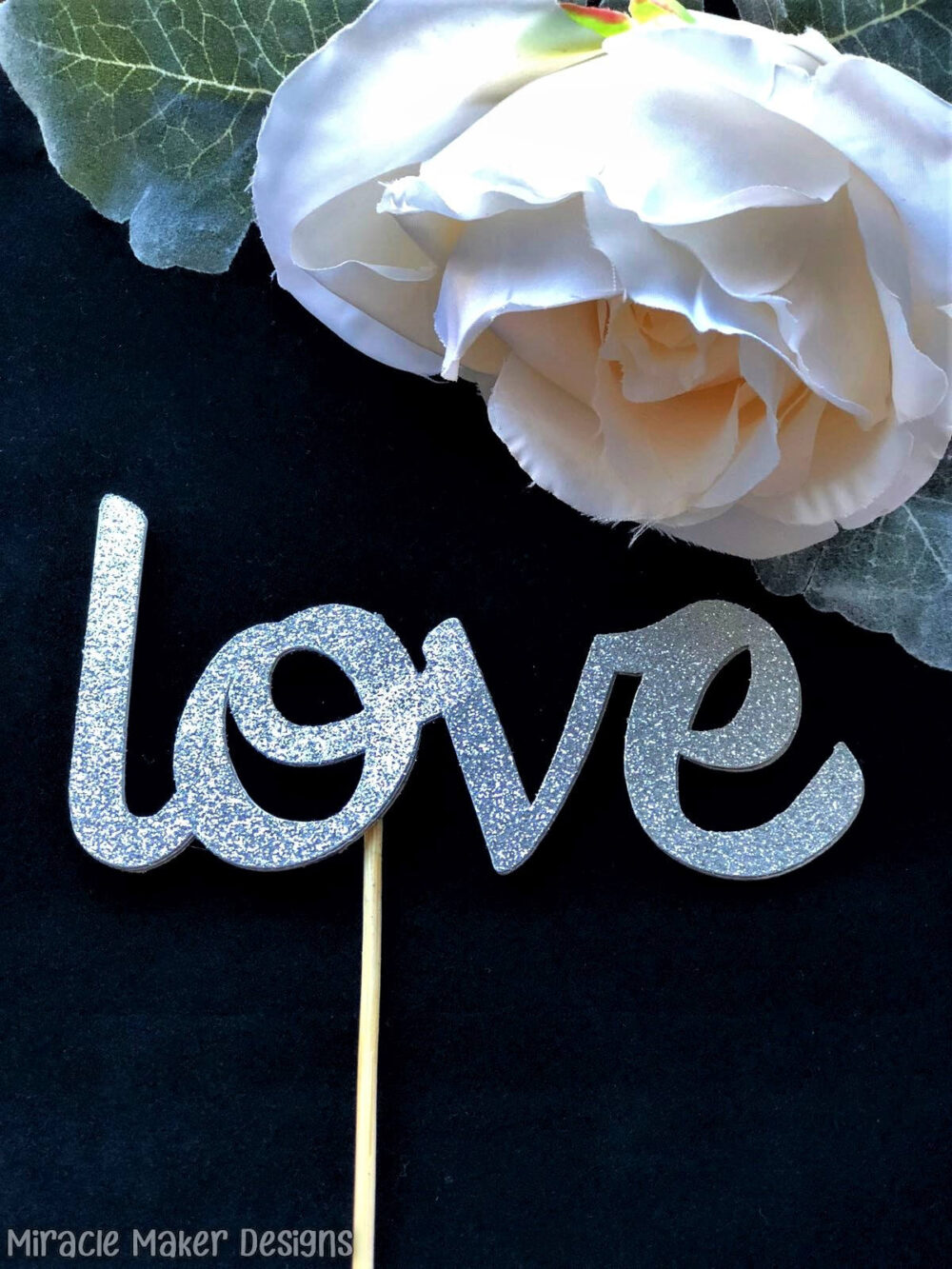 Elegant Love Cake Topper, Wedding Glitter Bridal Shower Engagement Cake, Party