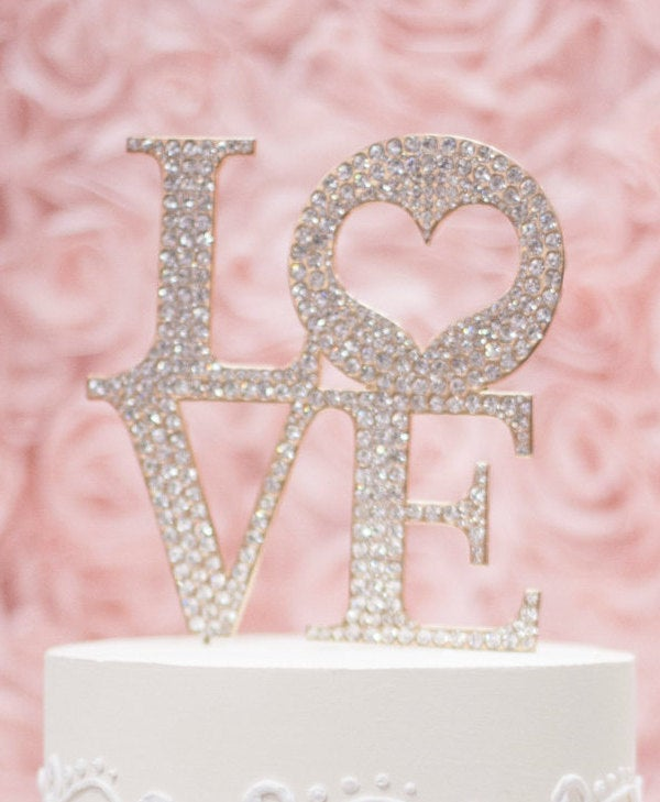 Gold Rhinestone Love Cake Topper/ Silver Or Metal-Wedding Topper/ Bride & Groom/ Cake Decoration/ Wedding Decorations