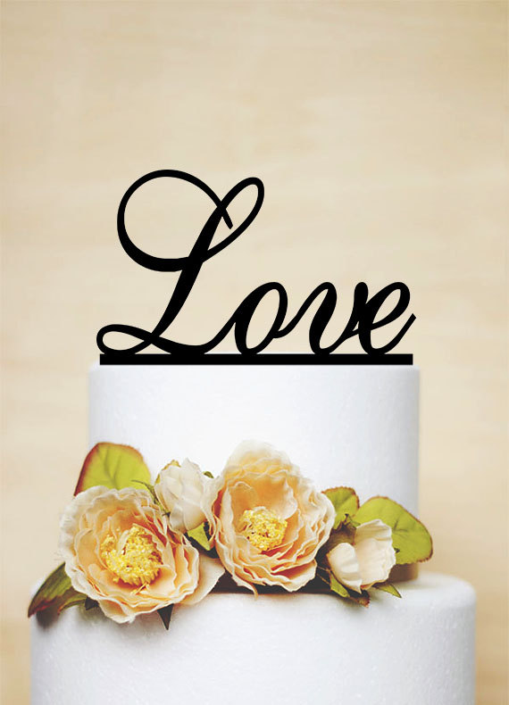 Love Cake Topper, Wedding Topper, Monogram Topper, Personalized Topper-P007