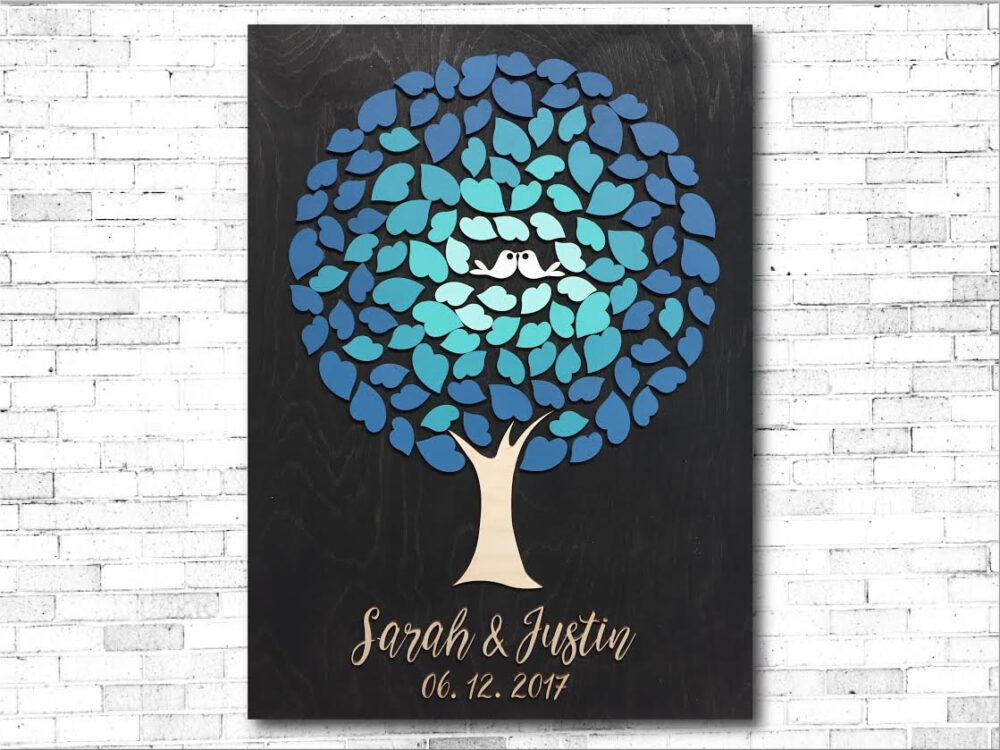 3D Wood Large Guest Book Alternative Unique Guestbook Wedding Sign Tree Of Hearts With Ombre Colors in Aqua Blue