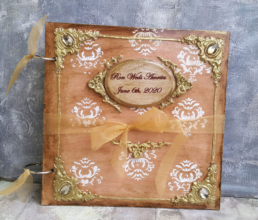 Gold Wedding Guest Book, Personalised Guest Book Wood, Wooden Coves Album, Vintage Rustic Book, Wedding Album, Sign in Book