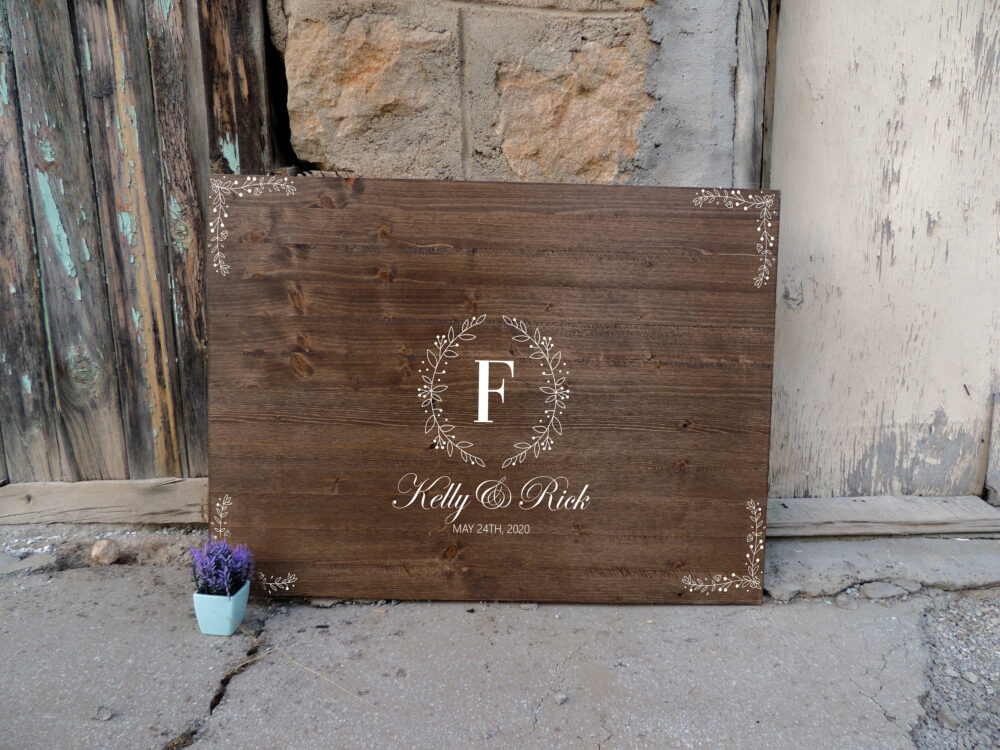 Rustic Wedding Guest Book Alternative | Calligraphy Name Design Decor Wood Sign Floral Gift