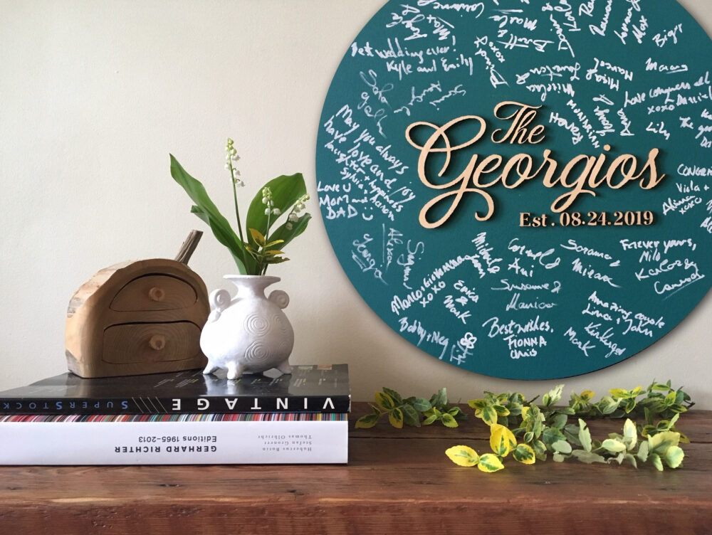 Wedding Guestbook Alternative, Last Name Wood Sign Guest Book, Family Sign, Anniversary, Engagement, Newlyweds Gift, Custom Colors