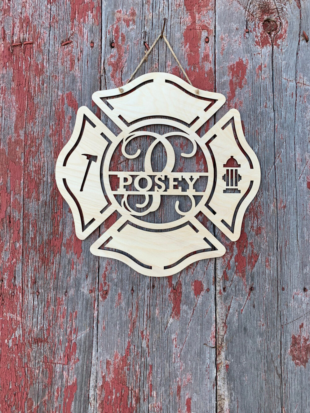 Wedding Wood Sign, Guest Book, Alternative Maltese Cross, Firefighter