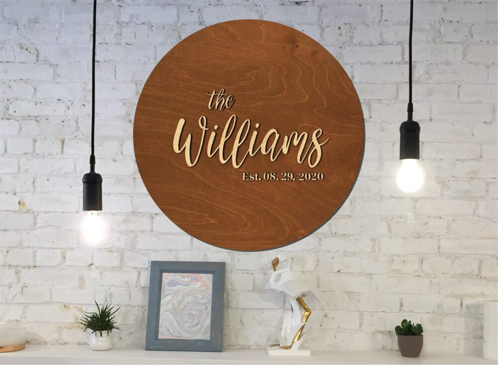 Last Name Wood Sign Guest Book Alternative, Family in Stain Or Custom Colors With Personalized Details