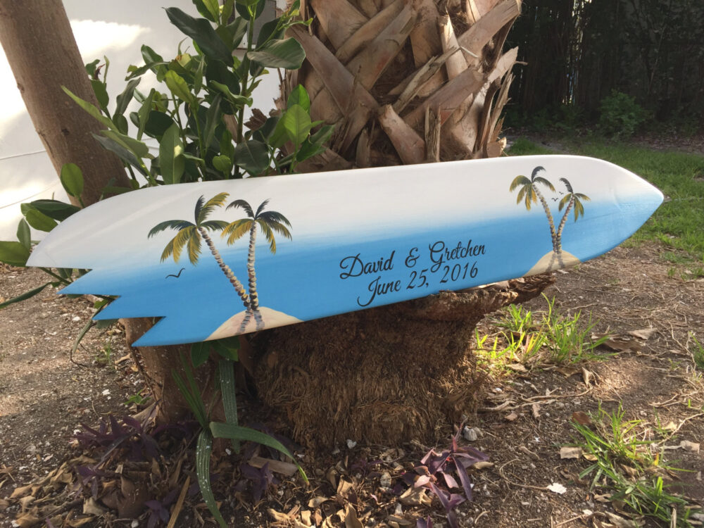 Wedding Guestbook Wood Sign, Guest Book Alternative, Shark Bite Surfboard Board, Palm Tree Beach Decor