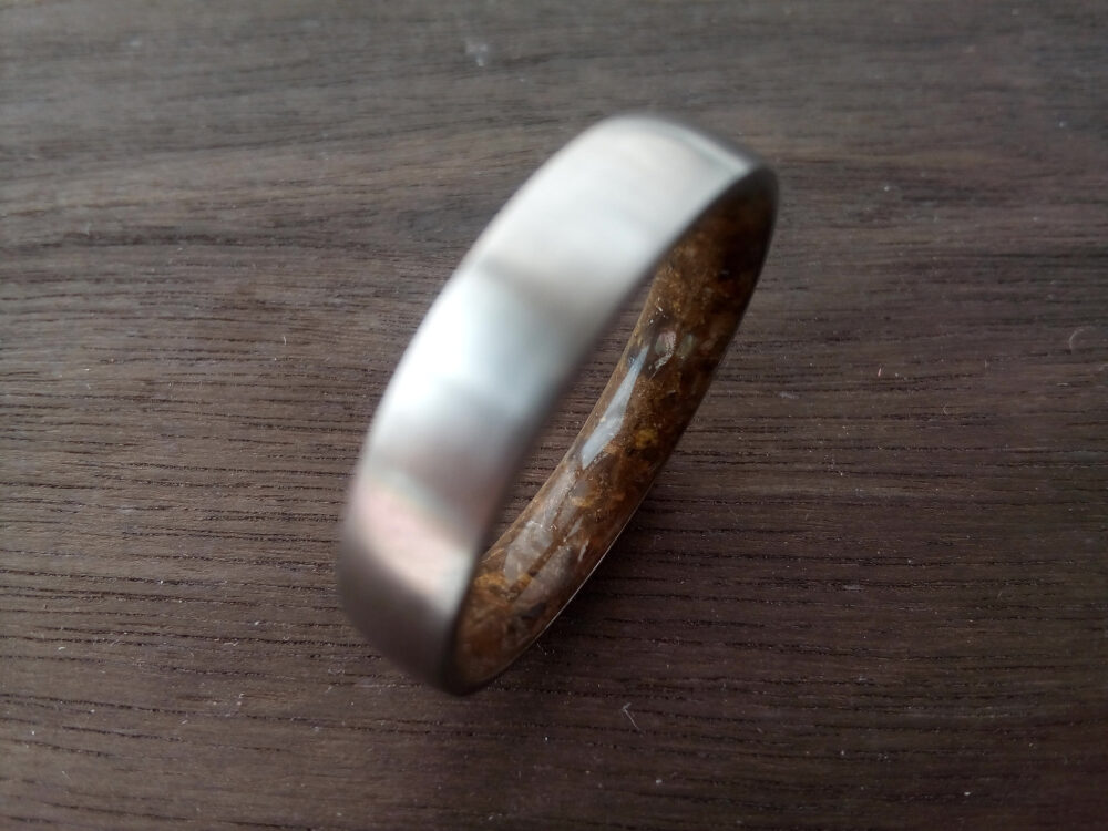 Wedding Ring, Band, Raw Stone Wedding Titanium Male Tiger Eye Stone, His & Hers Ring