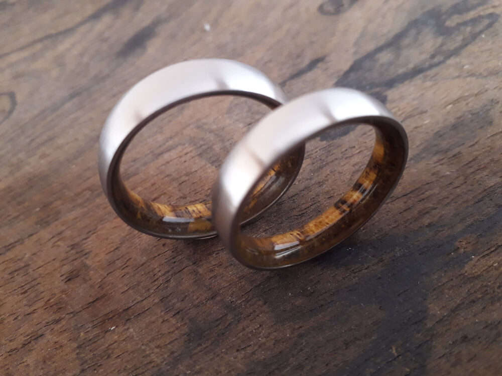 His & Hers Wedding Band Set, Matching Titanium Band, Bocote Wood Inside Tiger Eye Stone Inside, Matte Finish Band, 6mm 7mm