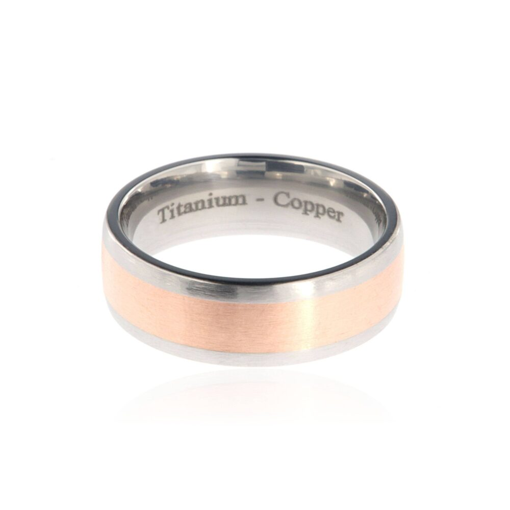 Copper Ring Titanium Wedding Inlay Band Jewelry Ring 7Hr14G-Copper