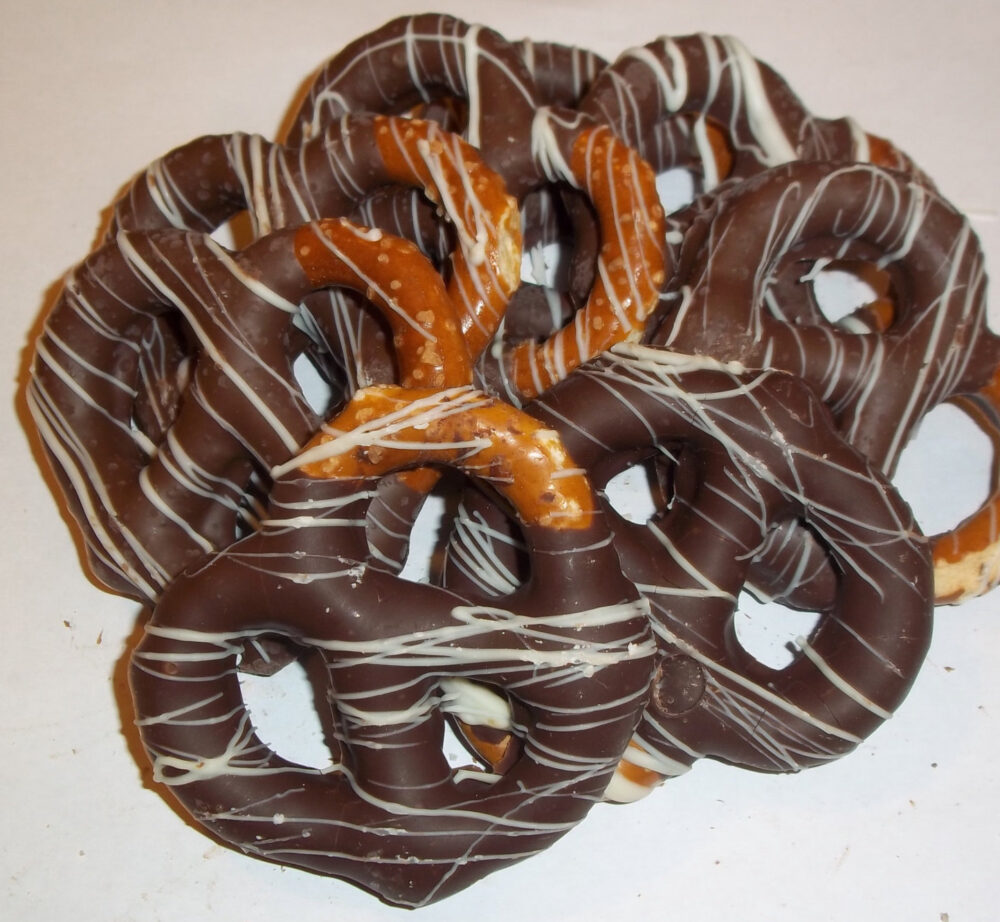 Wedding Favor Chocolate Covered Bavarian Pretzels White Dark Milk Caramel Custom Orders Cellophane & Ribbon Ready Set Of 15