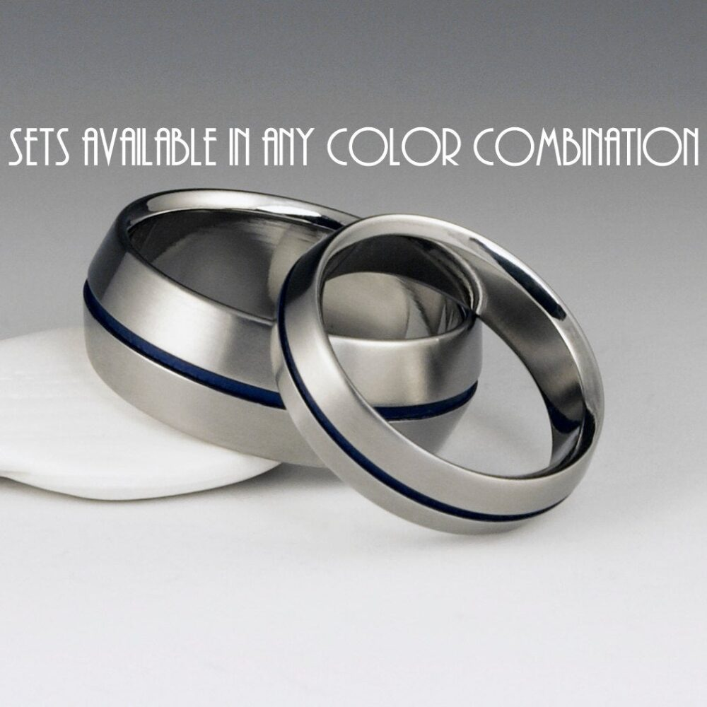 Titanium Band Set, His & Hers Wedding Peaked Profile, Centered Blue Pinstripe