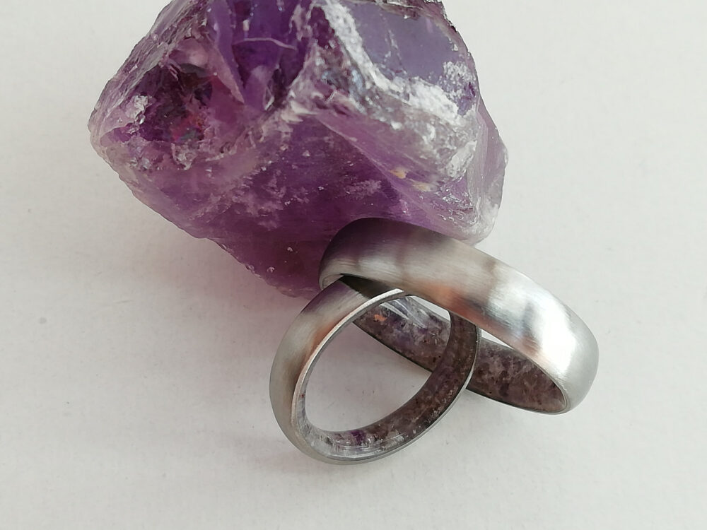 Matching Engagement Band, Wedding Raw Gemstone Jewelry, Amethyst Stone, Titanium Bands, Boho Rings