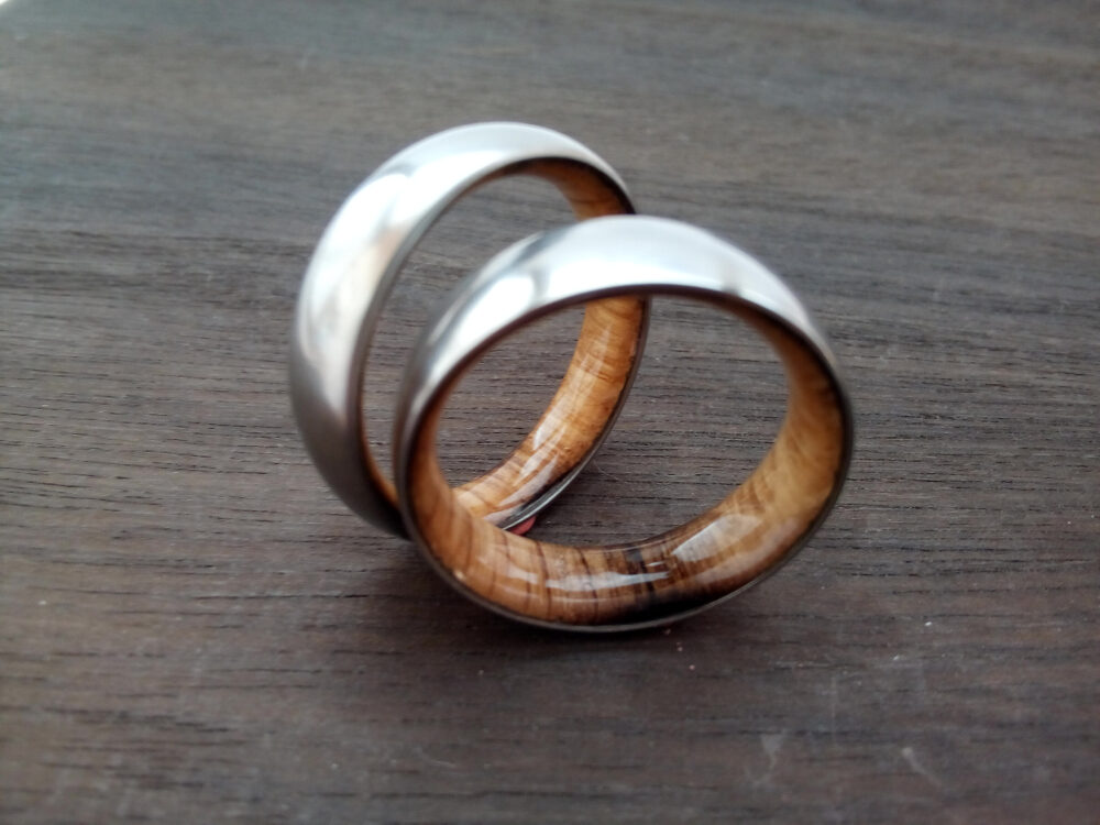 Gay Rings, Wedding Bands, Promise Unique Wedding Titanium Whiskey Barrel Wood, Matte Finish, Ring Set His & Her