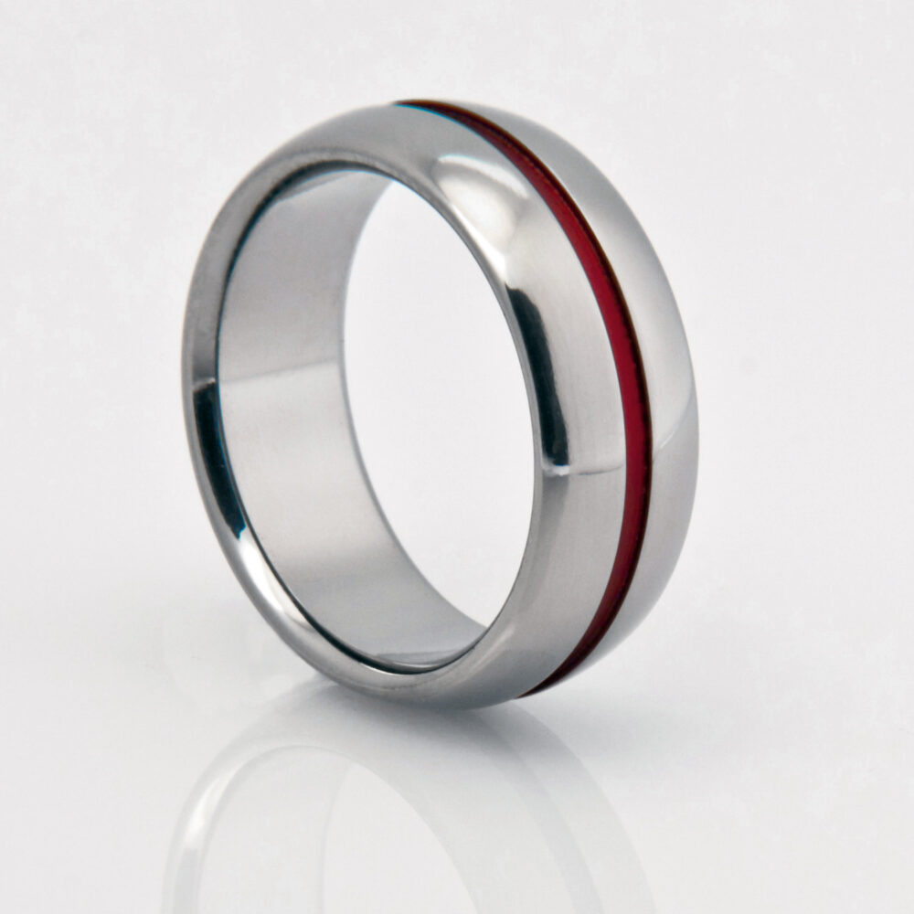 Titanium Band in A Domed Profile With Wide Red Pinstripe, String Of Fate Ring, Unique Wedding Engagement Unisex Ring