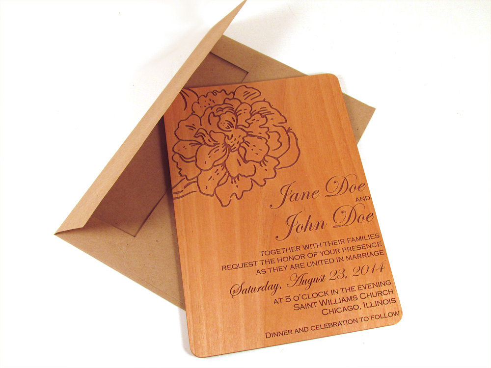Peony Flower Wooden Wedding Invitation - Floral Real Wood Invite