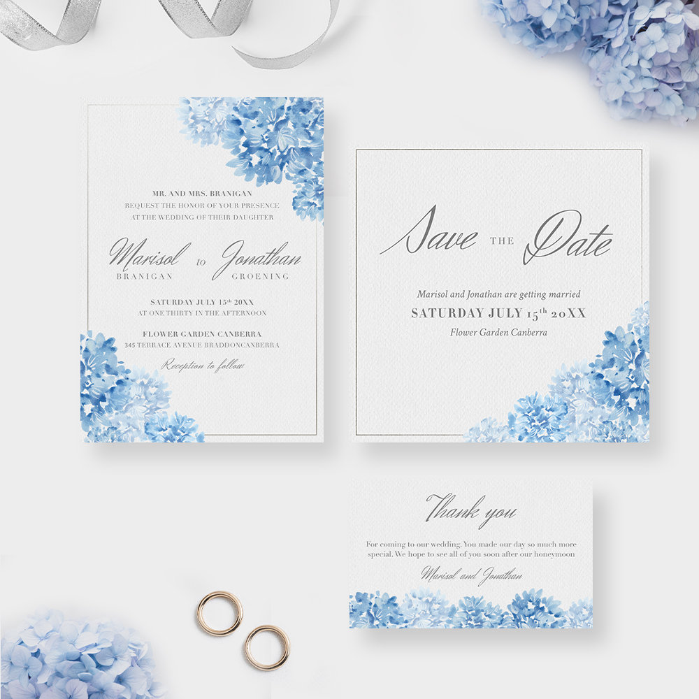 Floral Romantic Wedding Invitation Set, Blue Flower Design Invites, Save The Date Thank You Note, Watercolor Illustration