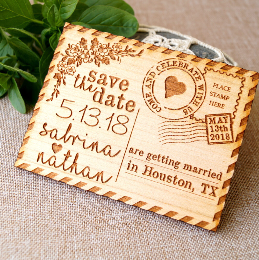 Save The Date, Save Date Magnet, Rustic Dates, Wood Postcard Set Of 10 Pc