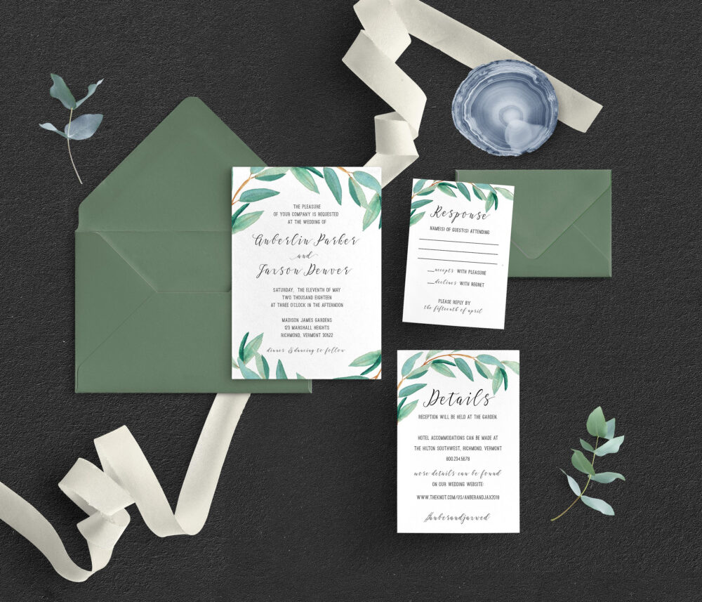 Eucalyptus Wedding Invitations, Garden Greenery Wedding, Floral Romantic Outdoor Invitation