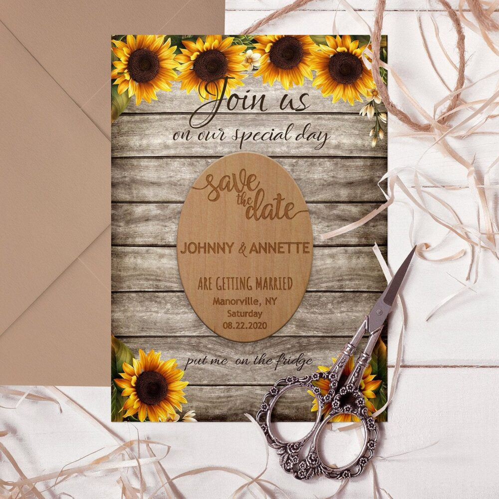 Wedding Save The Date Magnets, Custom Save Date Magnet With Envelopes, Invitation