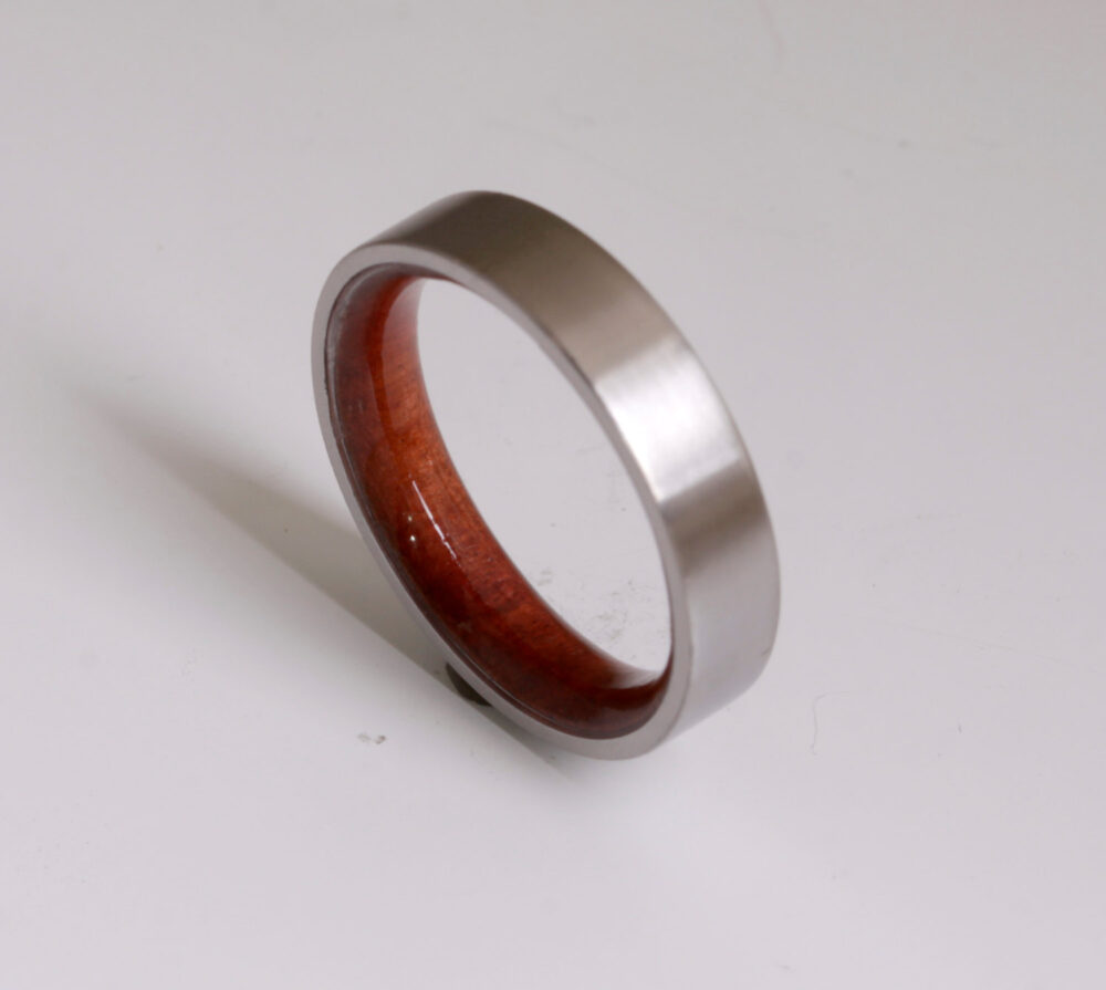 Wood Ring Titanium Band Wedding Woman Man Jewelry Engagement Red Heart