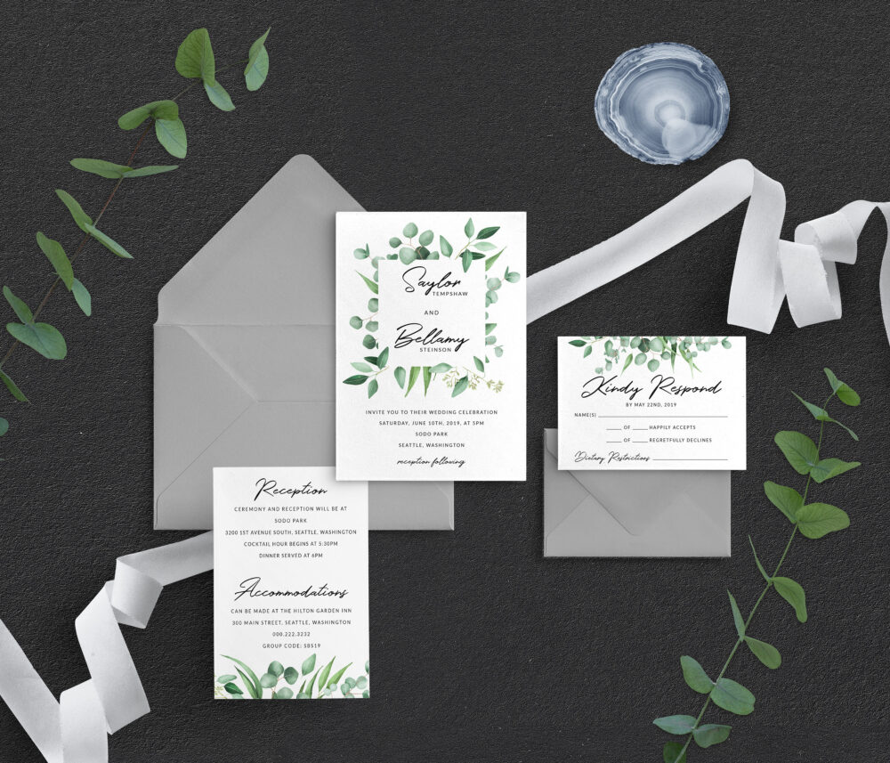 Eucalyptus Wedding Invitations, Greenery Garden Wedding, Floral Romantic Modern Invitation