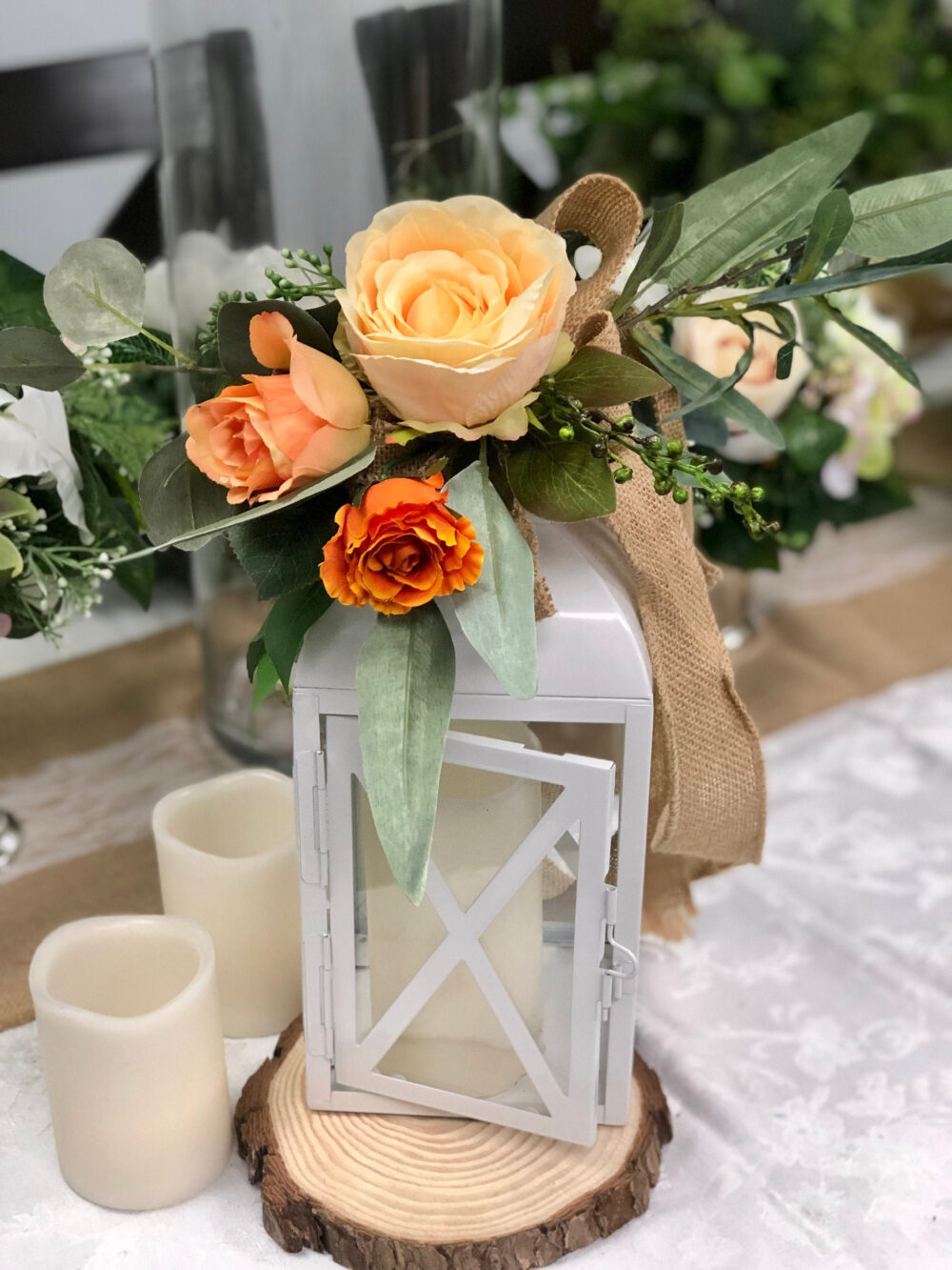 Aisle Marker Pew Chair Lantern Flower Rental Or Purchasing - Shades Of Orange Burlap Eucalyptus Olive Green Leaves Ribbon
