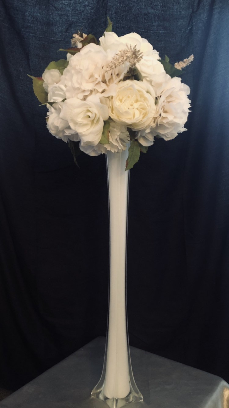 """24"""" Eiffel Tower Vase Centerpiece, Wedding Aisle Glass Centerpiece For Ostrich Feather Or Flower, Tall Vases"""