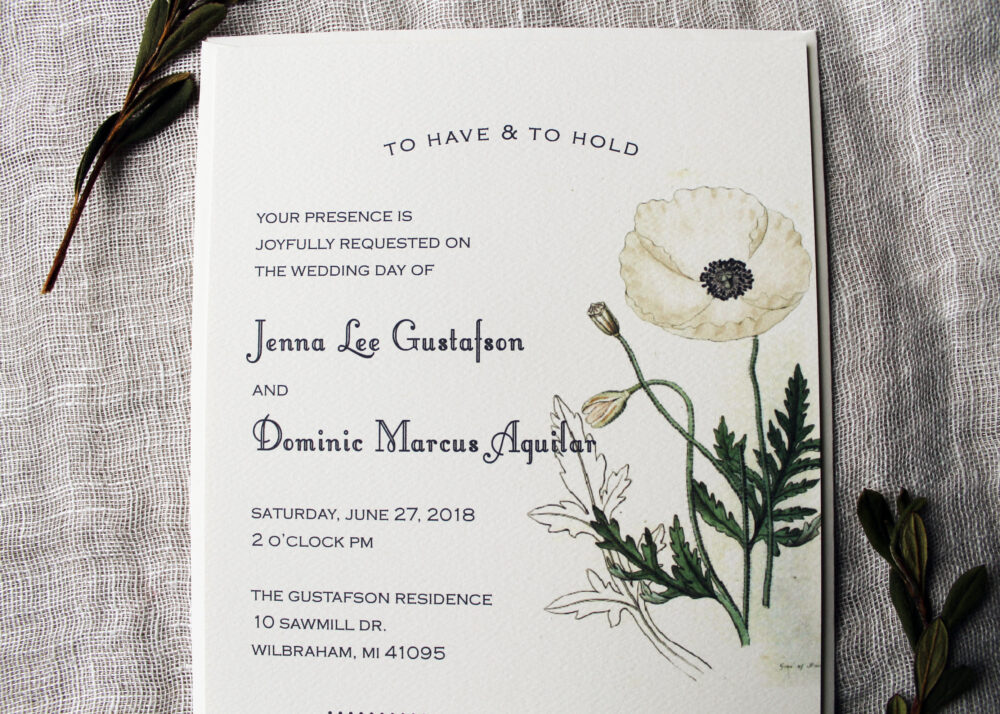 White Poppy Wedding Invitation Set | Botanical Downloadable Handmade Invitations Floral Flower Decor