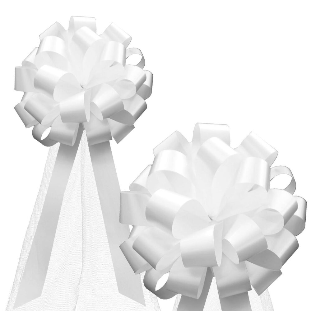 "White Wedding Pull Pew Bows With Tulle Tails Decorations - 8"" Wide, Set Of 6, Aisle Decor, Reception, Birthday, Christmas Decoration"