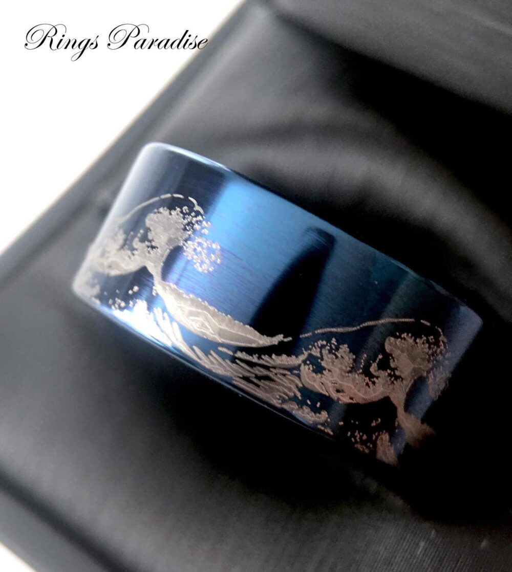 Ocean Ring, Wave Custom Wedding Band, His & Her, Tungsten Rings, Bands By Rings Paradise