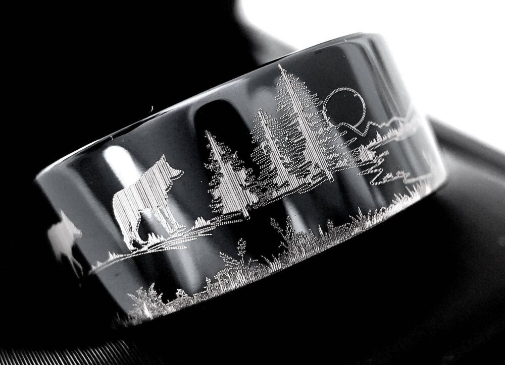 Hedgehog, Hare, Fox & Wolf in Forest Pattern Engraved Tungsten Wedding Bands, Black Ring, Band, His Hers Ring