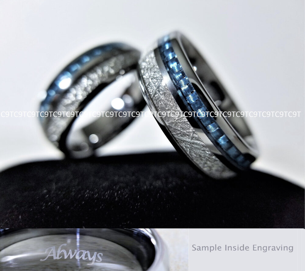 Tungsten Ring, His Band, Inlay Silver Meteorite Engraved Tungsten, Wedding Engagement Band, Free Engraving