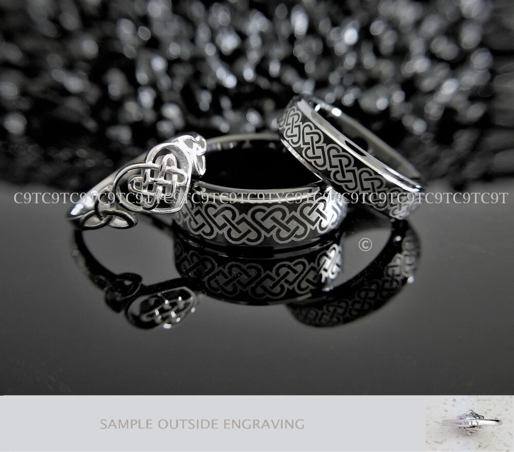 Tungsten Ring, Band Bf, Inlay Band, His Celtic Scroll, Wedding Ring