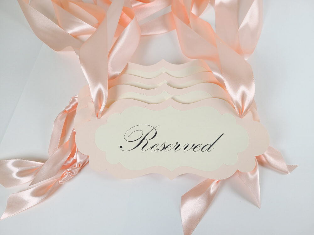 Wedding Reserved Pew Signs, Guest Seating Signs & Family Custom