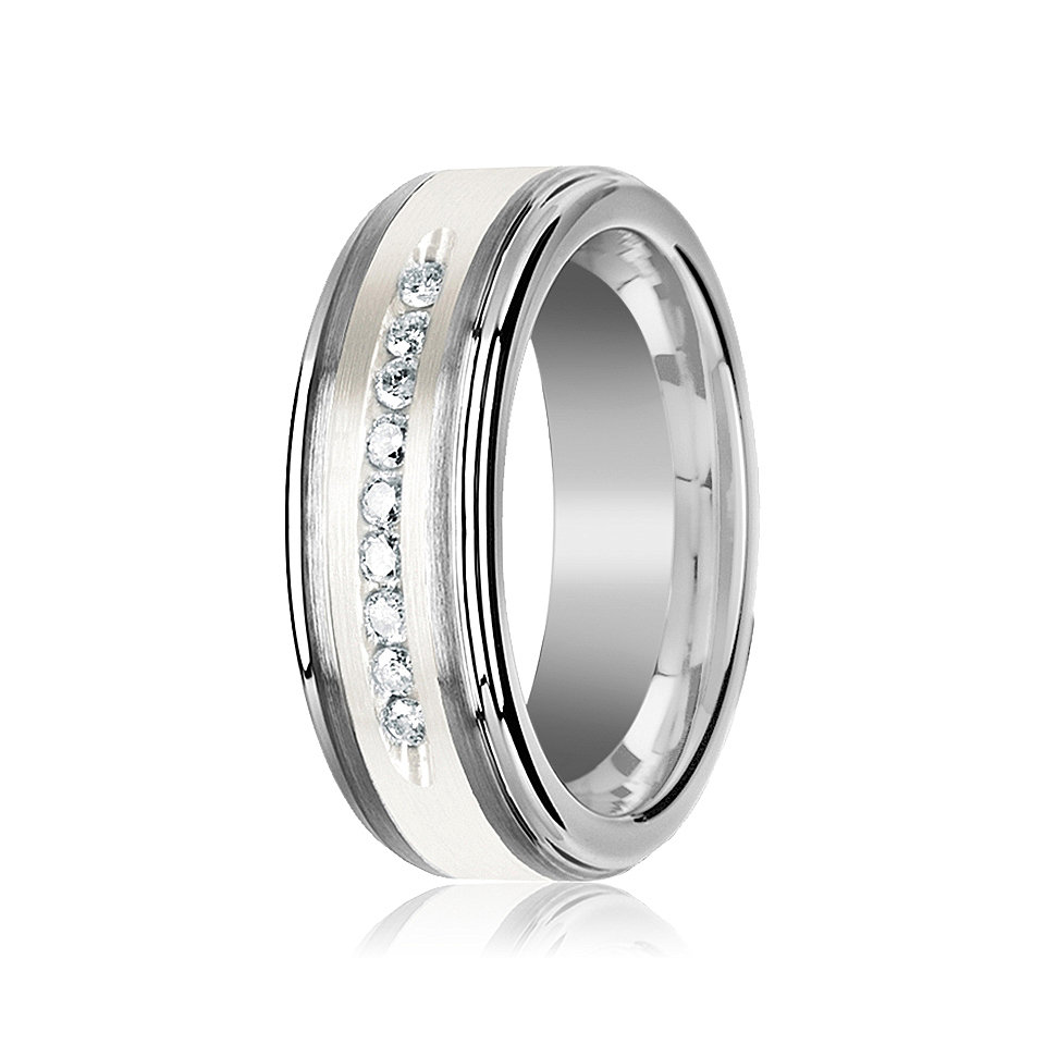 White Diamond Wedding Band Tungsten Ring Silver Inlay Center 9 Channel Set Diamonds