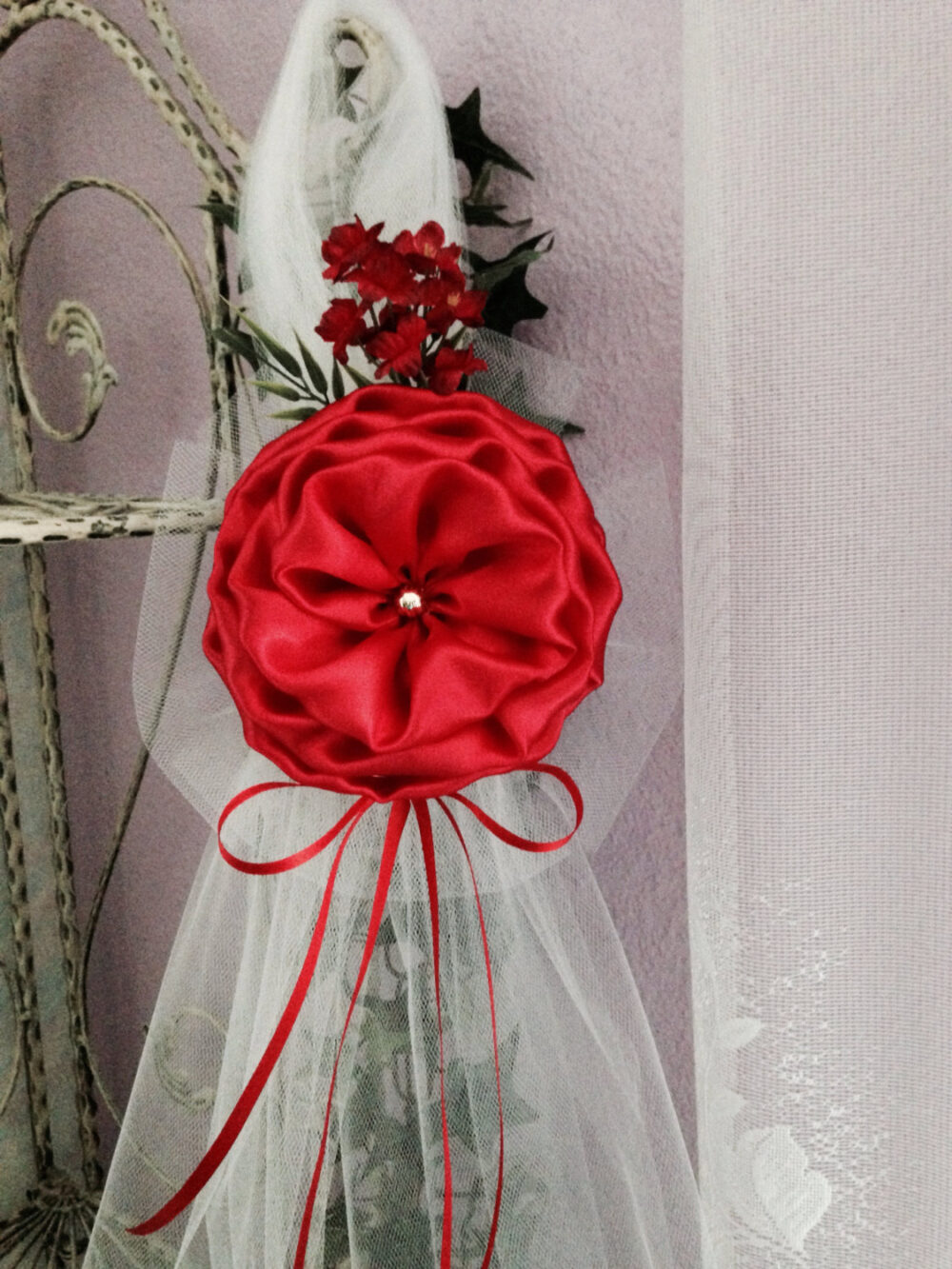 Set Of 6 Red Satin & Tulle Pearl Flower Peony Elegant Wedding Bows Pew Church Aisle Decorations