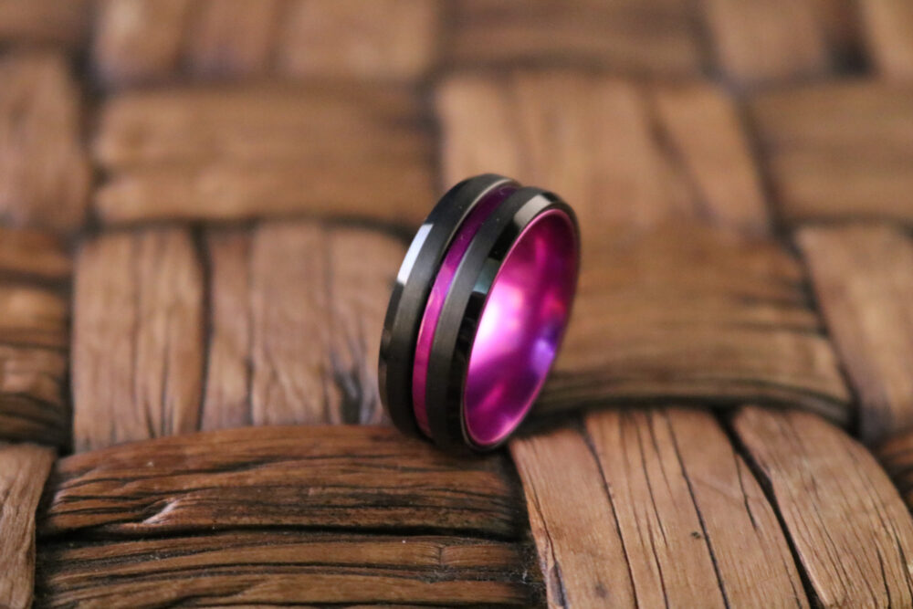 Tungsten Ring Black & Purple Passionate Beveled Edge Wedding Band