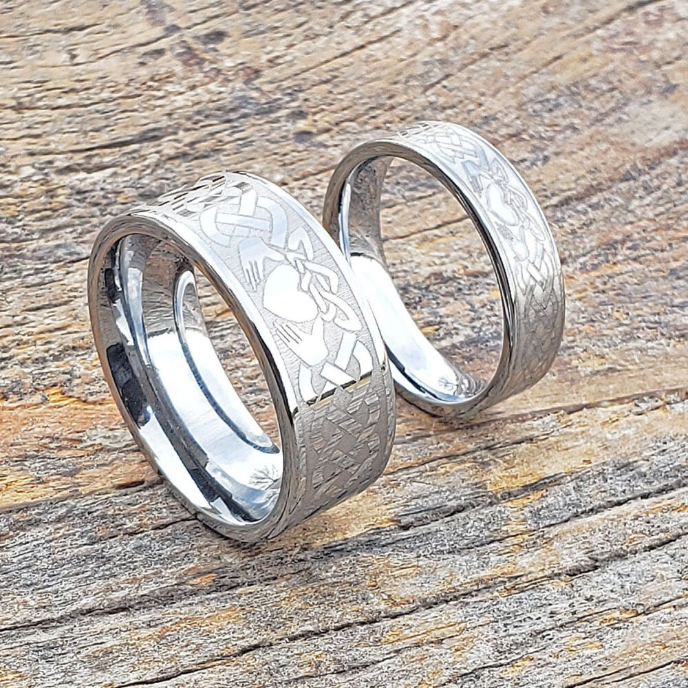 Claddagh Promise Ring, Band, Tungsten Celtic Couples Knot Irish Wedding Band