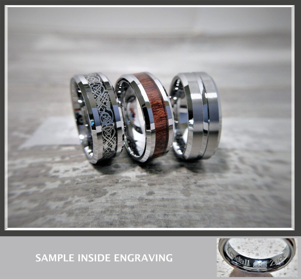 Tungsten Ring, His Band, Inlay Silver Engraved Tungsten, Wedding Engagement Free Engraving