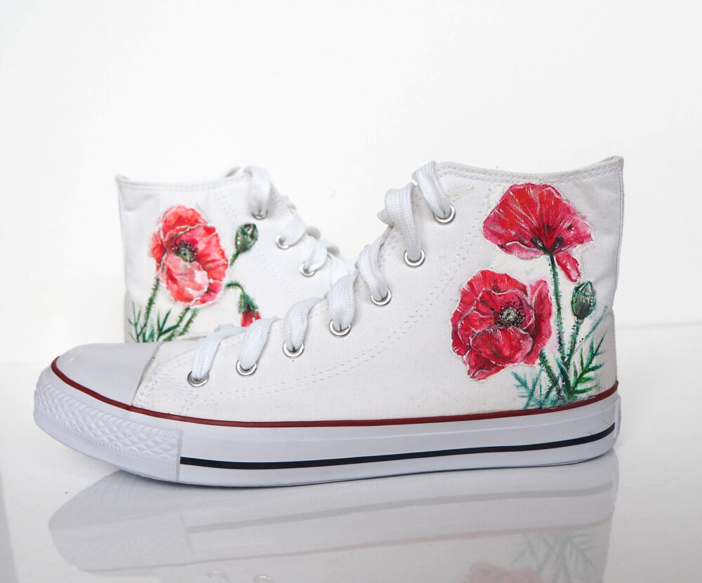 Custom Poppy Flower Shoes, Hand Painted Red Poppies Converse, Floral Shoes, Converse