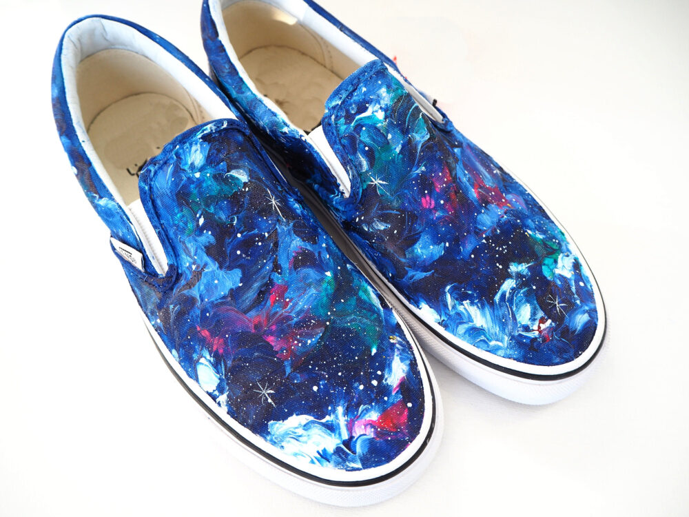 Custom Galaxy Slip On Shoes, Sneakers, Celestial Birthday Theme Prom Shoes