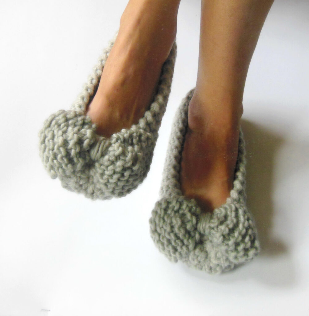 Gray Wool Slippers, Chunky Bow Women Non-Slip, Gift Wrapped, Wedding Flats, Home Shoes, Hand Knitted, Crochet Slippers