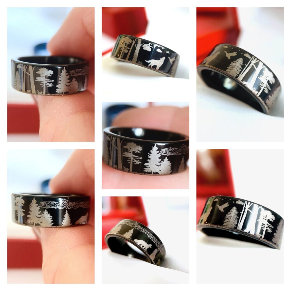 Wolf Facing Goose, Fox & Elk Pattern Engraved Tungsten Ring, His Her Promise Wedding Band, Engagement Anniversary Ring