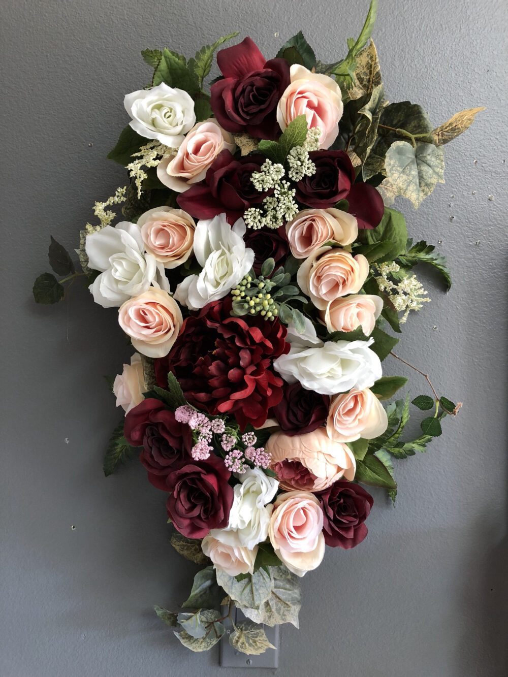 Burgundy-Blush Wedding Pew Flowers, Lantern Flower Accents, Small Swags, Boho Aisle Swag, Accents For Lanterns, Flowers