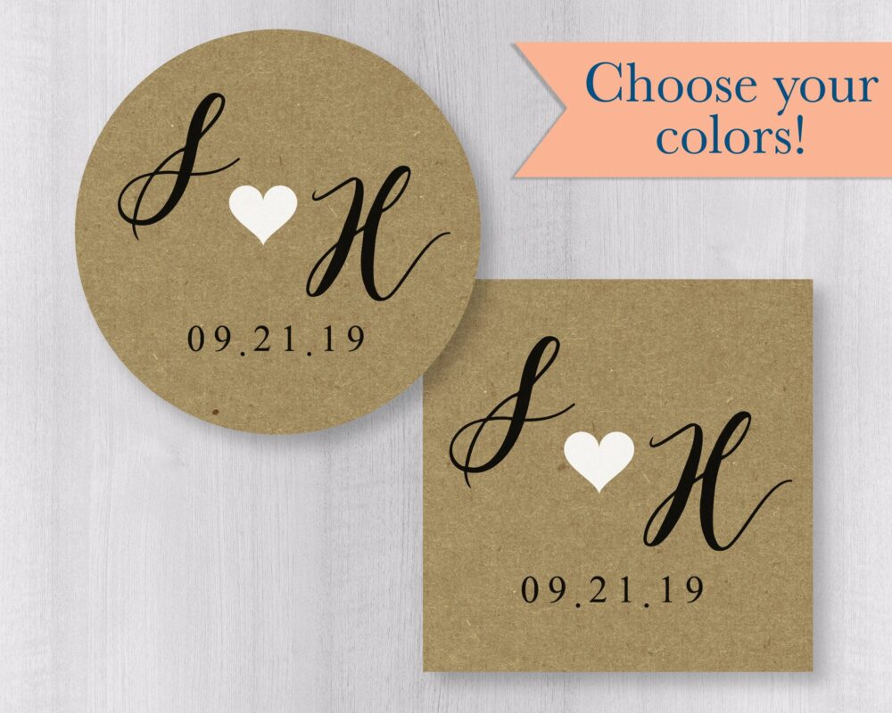 Save The Date Stickers, The Or Wedding Envelope Seals, Light Kraft | #104-Kr