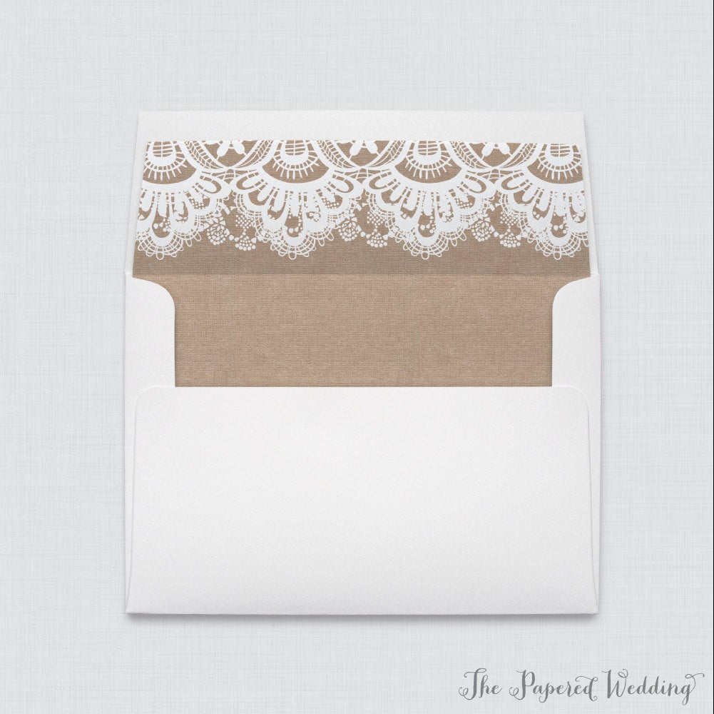 Wedding Envelopes With Liners - White A7 Burlap & Lace For Envelope, Rustic Envelope 0002