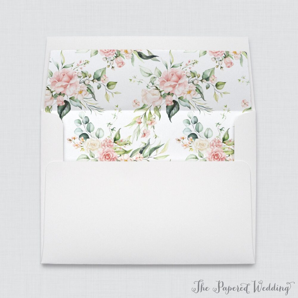 Wedding Envelopes With Pink Rose Patterned Liners - White A7 Floral Envelope Liners, Flower 0024
